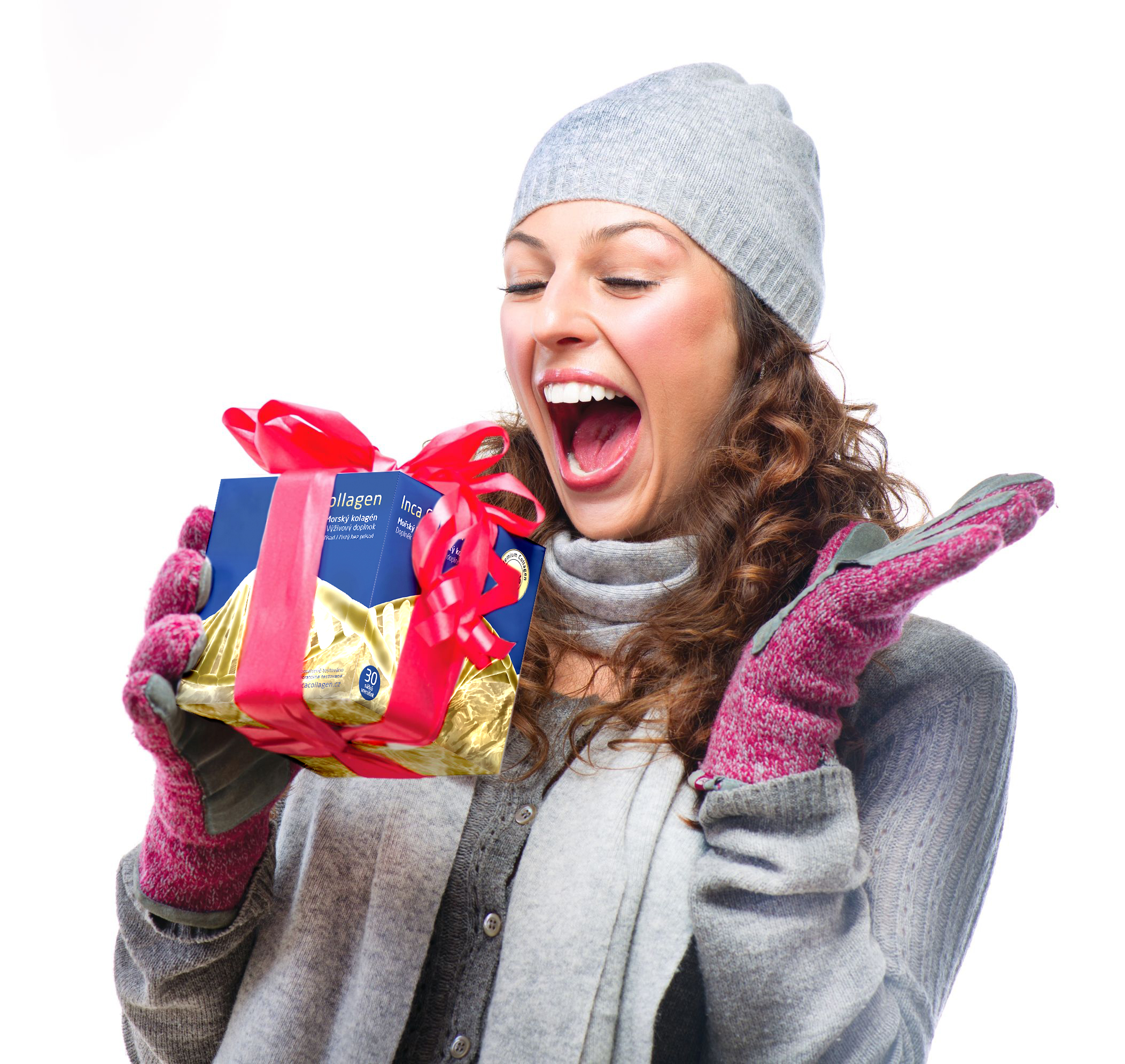 16854714 - happy young woman with christmas gift box